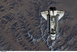 Space Shuttle Endeavor from International Space Station commanded by Dom Gorie