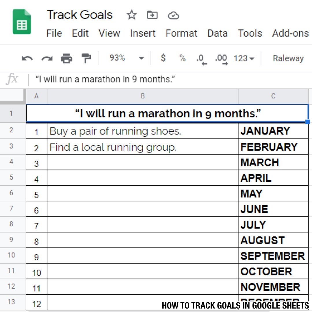 HOW TO TRACK GOALS IN spreadsheet